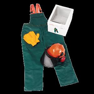 Suojainsarja M (50/52): Turvahousut, metsurin kypärä, hanskat