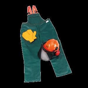 Suojainsarja L (54/56): Turvahousut, metsurin kypärä, hanskat