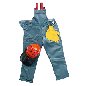 Suojainsarja XL (58/60): Turvahousut, metsurin kypärä, hanskat