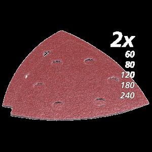 Hiomapaperisarja, hiomapaperikolmio, K60, 80, 120, 180, 240, x2kpl, punainen