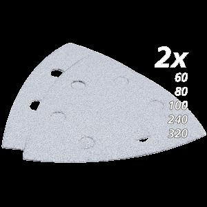 Hiomapaperisarja, hiomapaperikolmio, K60, 80, 100, 240, 320, x2 kpl, valkoinen