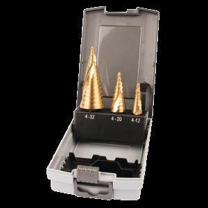 Porrasporanteräsarja 3-osaa, Tin-pinnoite, Ø 4-12 / 4-20 / 4-32mm